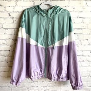 Multicolor Chevron Activewear Windbreaker Jacket